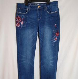 WHBM Girlfriend Embroidered Stretch Skinny Jean